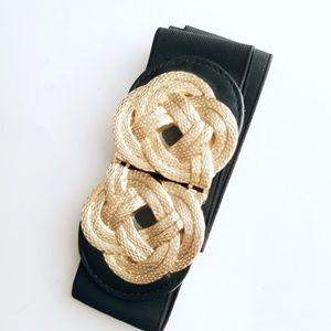 Vintage Black & Gold Knot Stretchy Belt M-L